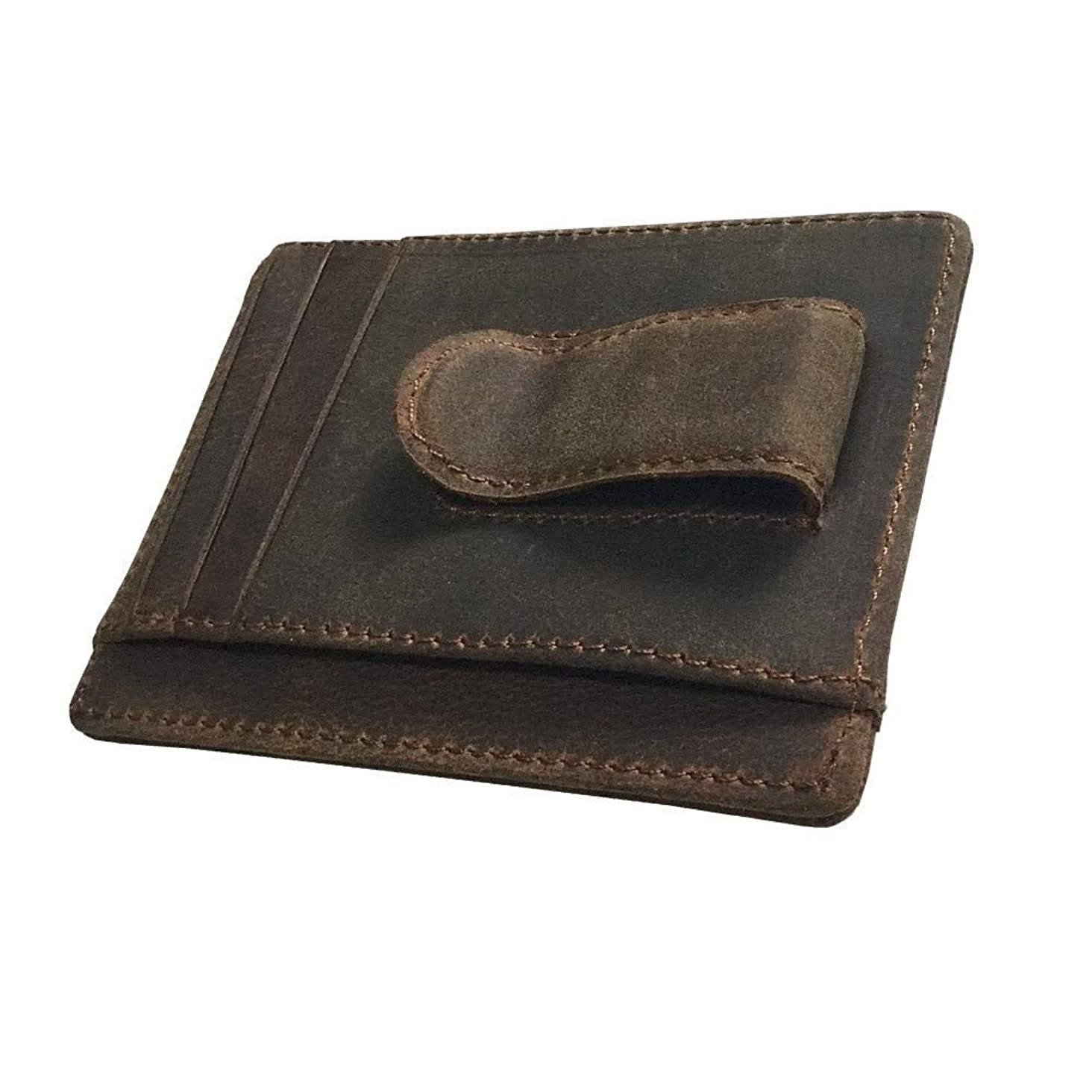 Mens Money Clip Genuine Leather Minimalist Slim Front Pocket Purse Spring Clip Wallet