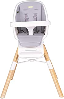 Mini Panda Eat and Learn 4-in-1 Convertible Wooden Baby High Chair, 6m-10y, Grey