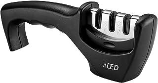Afilador Cuchillos, ACED Afilador de Cuchillo 3 Etapas Cocina Afiladores Manuales, diseño antideslizante y ergonómico, Fácil y seguro de usar