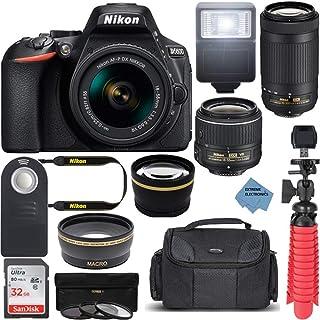 Nikon D5600 24.2MP DX-Format DSLR Camera with AF-P 18-55mm VR & 70-300mm ED Lens Kit Bundle with Camera Lens, 32GB Memory ...