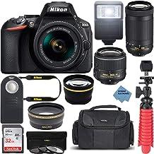 Nikon Intl. D5600 24.2MP DX-Format DSLR Camera with AF-P 18-55mm VR & 70-300mm ED Lens Kit Bundle with Camera Lens, 32GB M...