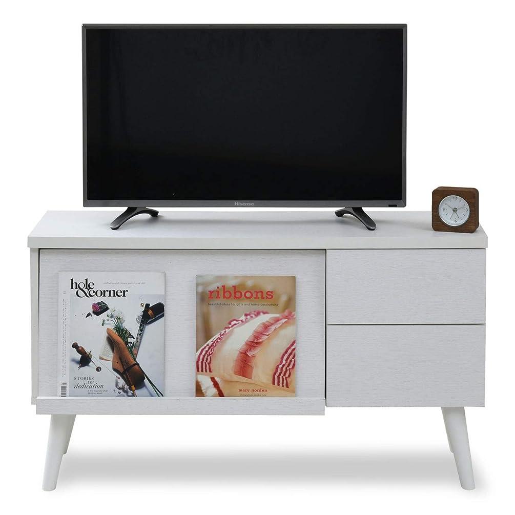企業広い改善するJKプラン テレビ台 37型 40型 幅100 高さ59.5 奥行33.5 モダン ローボード リビングボード あし付き フラップ 扉 引出し 収納 付き 木製 ホワイト 白 FTV0013WH