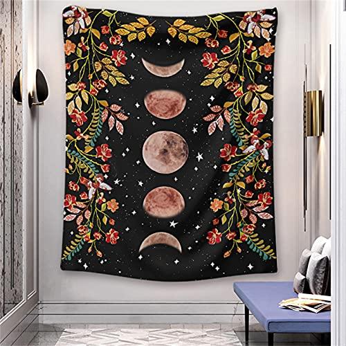 YYRAIN Bohemia Naranja Sol Luna Tapiz Decoraciones para El Hogar Fondo De Pared Tapiz Pasillo Arte De La Pared 70.8x90.6 Inch{180x230cm}
