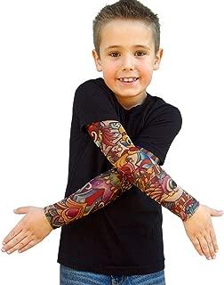 Wild Rose 720 Little Boys' Tattoo Shirt Cotton Tee Mesh Sleeves, Black