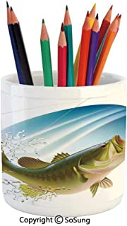 Printed Ceramic Pencil Pen Holder Case Box,Largemouth Sea Bass Catching a Bite in Water Spray Motion Splash Wild Image Beautiful Stationery for Daily Use in Office,Classroom,Home,Gift Idea,Green Blue