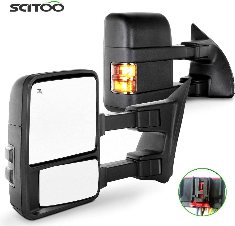 Towing Telescoping Folding Black Textured Tow Mirrors Power Heat