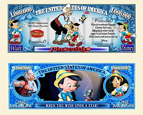 Anime Source Pinocchio Wish Upon A Star Cartoon Character Commemorative Novelty Million Bill with Semi Rigid Protector