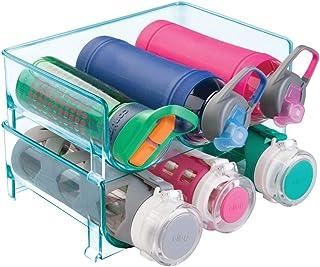 mDesign Juego de 2 organizadores de botellas – Prácticos estantes para botellas que organizan en total 6 botellas de vino o de agua – Botelleros apilables de plástico libre de BPA – azul mar