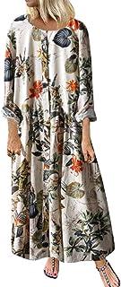 Bohemian Dresses for Women Plus Size Floral Print Vintage Long Maxi Dress