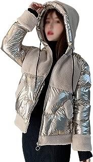 LUKEEXIN Womens Winter Shiny Mosaic Lambs Wool Coat Thickened Warm Down Jackets Coat