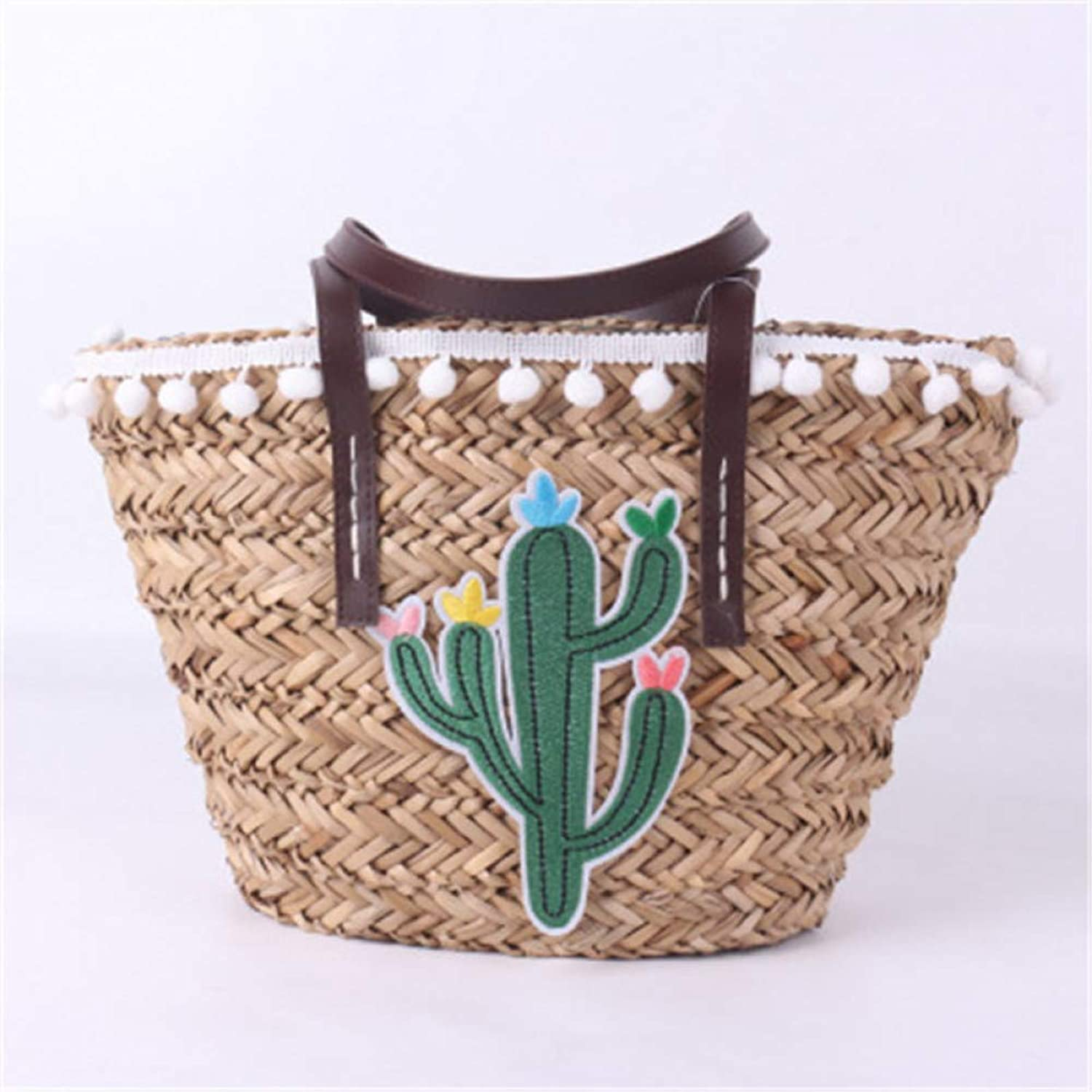 LHKFNU New Handbags Straw Bag Brands Woven Beach Bag