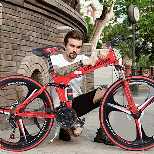 Sentmoon 26 in Folding Mountain Bike 21 Speed Bicycle Full Suspension MTB Bikes Race Bike Commuter Foldable Compact Suspension Bicycle for Students Adult
