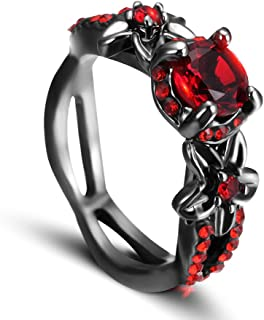 Womens Red CZ Flower Ring Engagement Wedding Black Gothic Ring, the Premium Fashion Forward Band Ring for Womens AAA Cubic Zirconia Jewelry Size 6-10