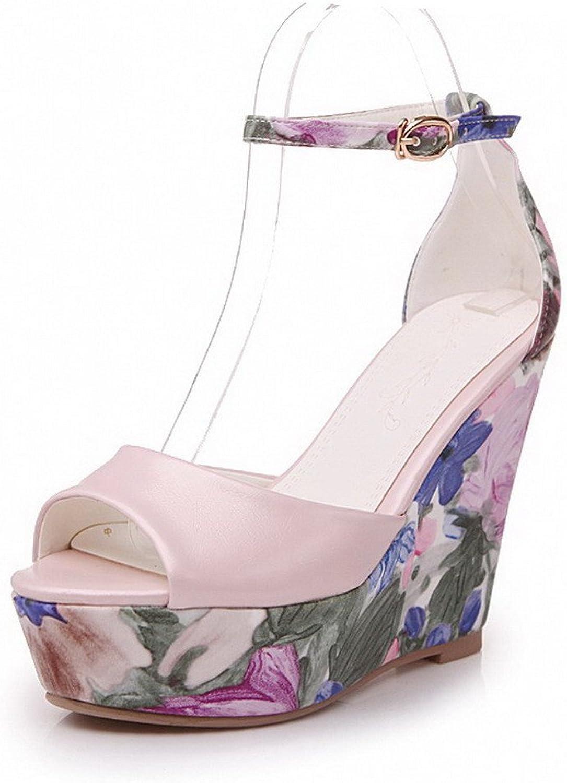 AmoonyFashion Women's Buckle Peep Toe High-Heels PU Assorted color Sandals