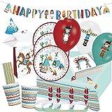 Amscan/Diverse 76-teiliges Party-Set - Indianer Tipi & Tomahawk - Teller Becher Servietten Tischdecke Einladungen Partytüten Girlande Kopfschmuck Luftballons Trinkhalme für 8 Kinder