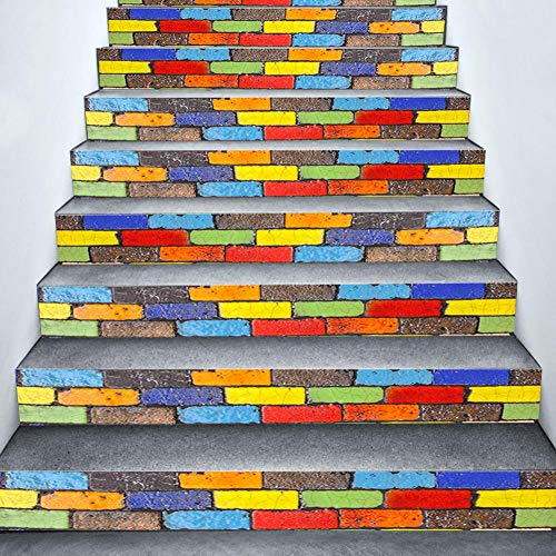 navigatee 3D treppen Aufkleber tapete treppen Aufkleber Bunte rustikale Fliesen Muster DIY treppenhaus Aufkleber wohnkultur Kunst wandbild Dekoration abnehmbare 6 Teile/Satz