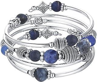 Beaded Chakra Bangle Turquoise Bracelet - Fashion Jewelry Wrap Bracelet with Thick Silver Metal and Mala Beads, Birthday G...