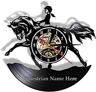 Female Equestrian Wall Art Home Decor Wall Clock Hunter Jumper Fence Girl Vinyl Record..