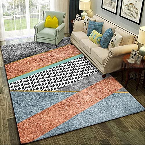 Alfombra Alfombra Dormitorio Suave y Confortable Alfombra de diseño geométrico Gris Azul Rojo Durable moqueta Antideslizantes alfombras 120*170CM