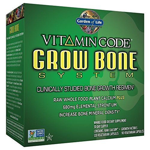 Garden of Life Raw Calcium and Growth Factors Supplement- Vitamin Code Grow Bone System Whole Food Vitamin with Strontium, Vegetarian (set)