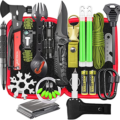 Gifts for Men Dad Husband Fathers, Camping Survival Gear and Equipment Kit 32 in 1, Cool Gadgets...