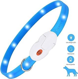 kolpop Collar Luminoso Perro, USB Recargable Collar Perro Seguro para Mascotas, 3 Modos de Collar Perro luz, Collar LED Perro Adecuado para Menos 20kg, Ajustable Collares Luminosos para Perros(Azul)