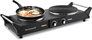 Techwood Hot Plate Portable Electric Stove 1800W Countertop Double Burner with Adjustable Temperature & Stay Cool Handles,...
