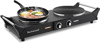 Techwood Hot Plate Double Burner Electric Heating Plate Countertop Burner 1800W Portable Cooktop Cast-Iron Burner