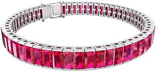 23.52 Ct Certified Ruby Glass Filled Charm Bracelet, Statement Wedding Bridal Bracelet, Baguette Shape Gemstone Tennis Bra...
