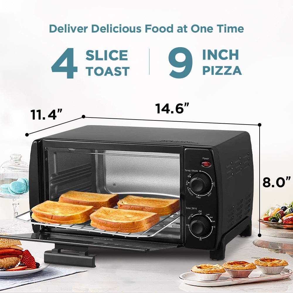 4-Slice Easy to Control with Timer-Bake-Broil-Toast Setting Renewed COMFEE Toaster Oven Countertop Black CFO-BB101 Compact Size 1000W
