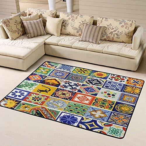 Mexican Talavera Ceramic Tile Pattern, Decor Your Rooms Non Slip Rugs for Kids Bedroom Dining Living Room Outdoor Playroom Hallway Runner Rug Floor 2x3 3x5 4x6 5x8 Area Rug