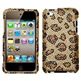 Bling/Crystal Snap-On Protector Hard Case for Apple iPod Touch 4th Generation / 4th Gen - Gold Leopard Design