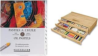 Sennelier Pastels Art Gift Set & 3 Drawer Wood Pastel Storage Box - Sennelier Oil Pastel Assorted Colors - Set of 24