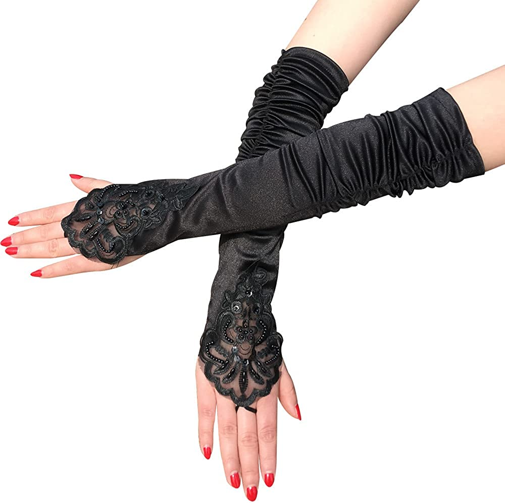 SweetCharmL Bridal Fabulous Beaded Satin Stretch Elbow Length lace Wedding Gloves
