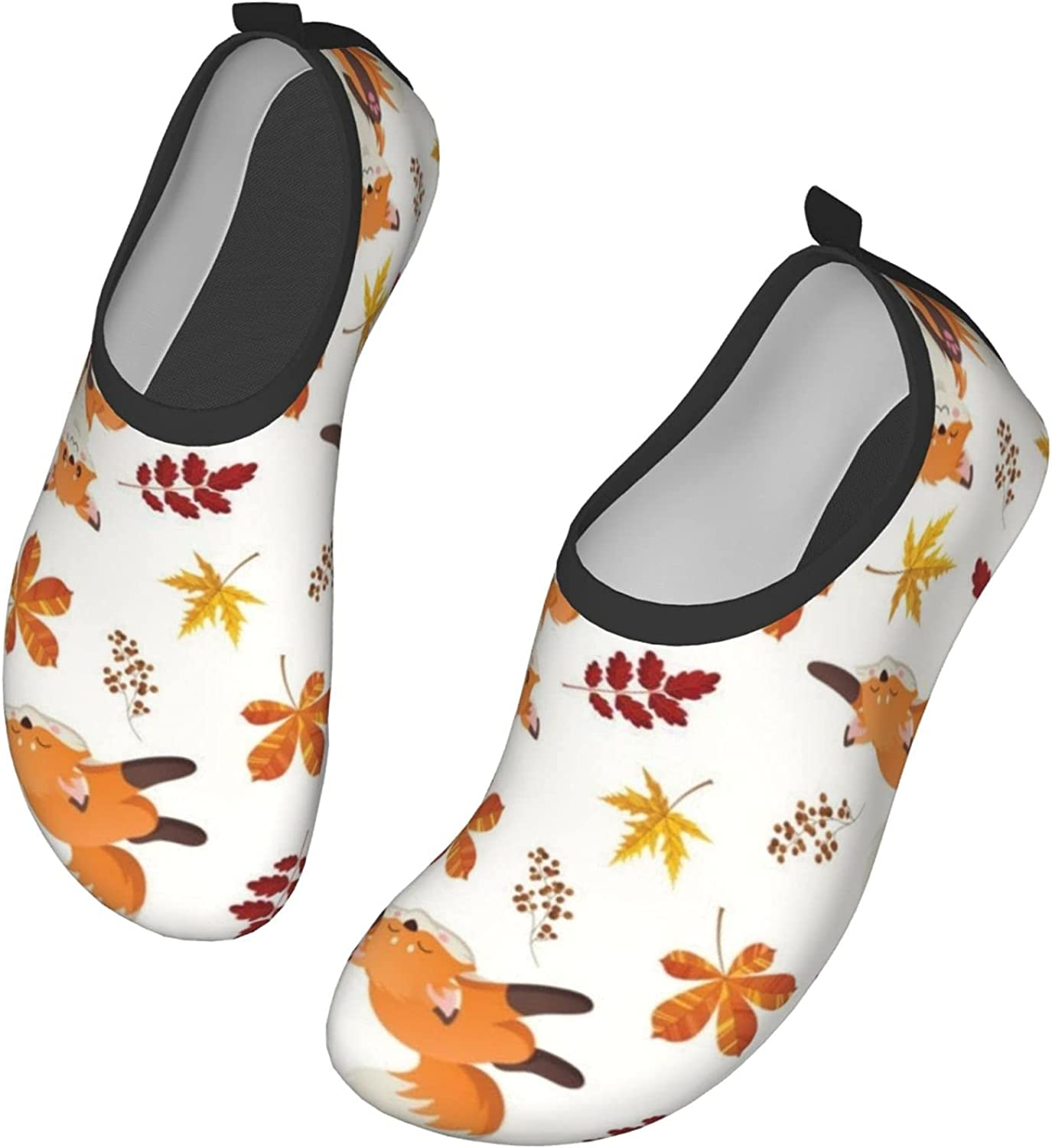 Little Fox, Butterfly and Flowers Water Shoes Quick Dry Swim Aqua Barefoot Socks for Women Mens Sports Walking Yoga Water Shoes