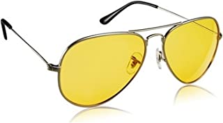 Trendmi Night Vision Silver Frame Men Women Aviator Sunglasses for Driving/Shooting (Yellow Lens) - Perfect for Any Weather