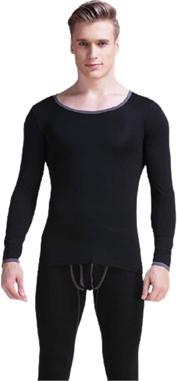 EverNight Men's Underwear Set,Thin Skinny Low Collar Long Johns,Winter Base Layer Top and Bottom,2,3XL