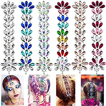 Hair Gems Tattoo Stickers Face Body Jewels Stickers Eyes Forehead Mermaid Rhinestone Glitter Tattoos with Self Adhesive Crystal Tears Paste for DIY Body Art Decals Music Festival Party 6 Pack