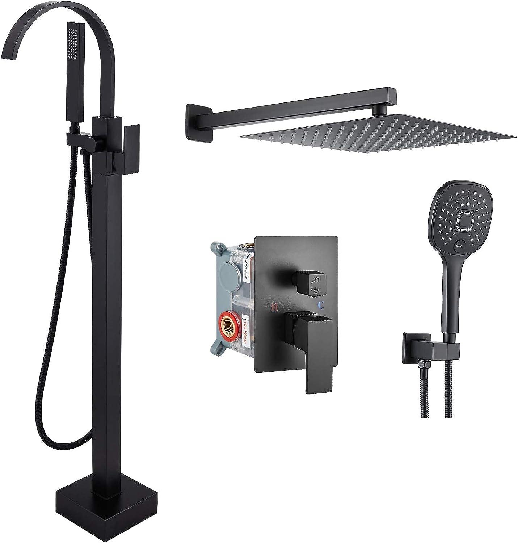 Aolemi Black Freestanding Tub Filler Mounte Free shipping New Max 89% OFF Faucet Bathtub Floor
