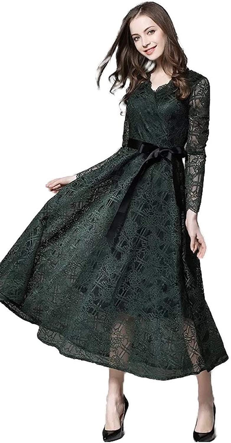 Faith Guardians Green Lace Long Sleeves Ankle Length Vintage Dress with Black Belt