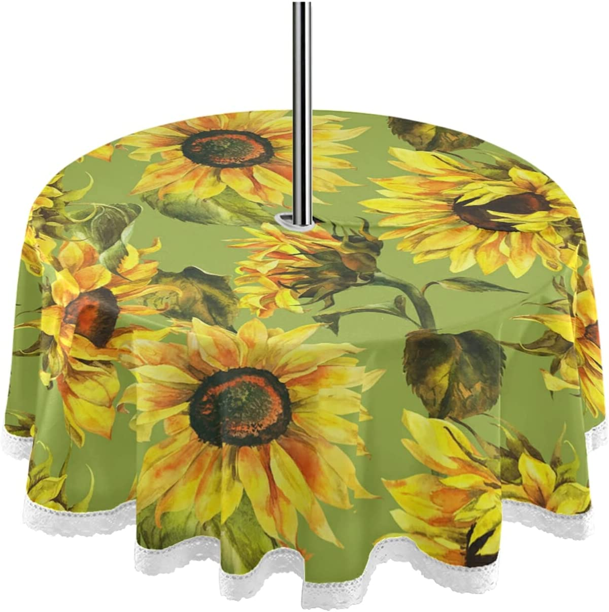 Trust Sunflowers 60inch Round Tablecloth with Max 72% OFF Umbrella Hole Zipper and
