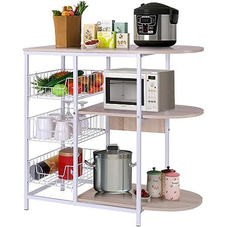 Black Panfinggin 3-Tier Kitchen Bakers Rack Utility Microwave Oven Stand Storage Cart Workstation Shelf