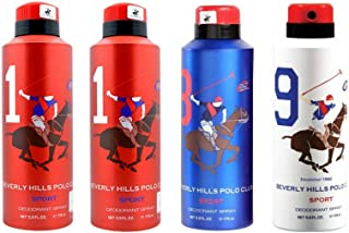 Beverly Hills Polo Club 2 No.1, 1 No.8 & 1 No.9 Deodorant For Men - Pack of 4