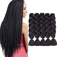 Kanekalon Synthetic Braiding Hair Extensions Crochet Jumbo Box Braids Hair High Temperature Fiber Braid Hair Pure Black Co...