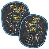 Flicken zum aufbügeln für Kinder groß Set Roboter 12 x 10 cm retro XL Knieflicken aus Jeans schwarz blauer Rand 2 Aufbuegler Jeans Bügelbilder Applikation