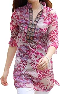 Buildhigh-women clothes Plus-Size Baggy Style Floral Classics Tunic Shirts Blouse Tops