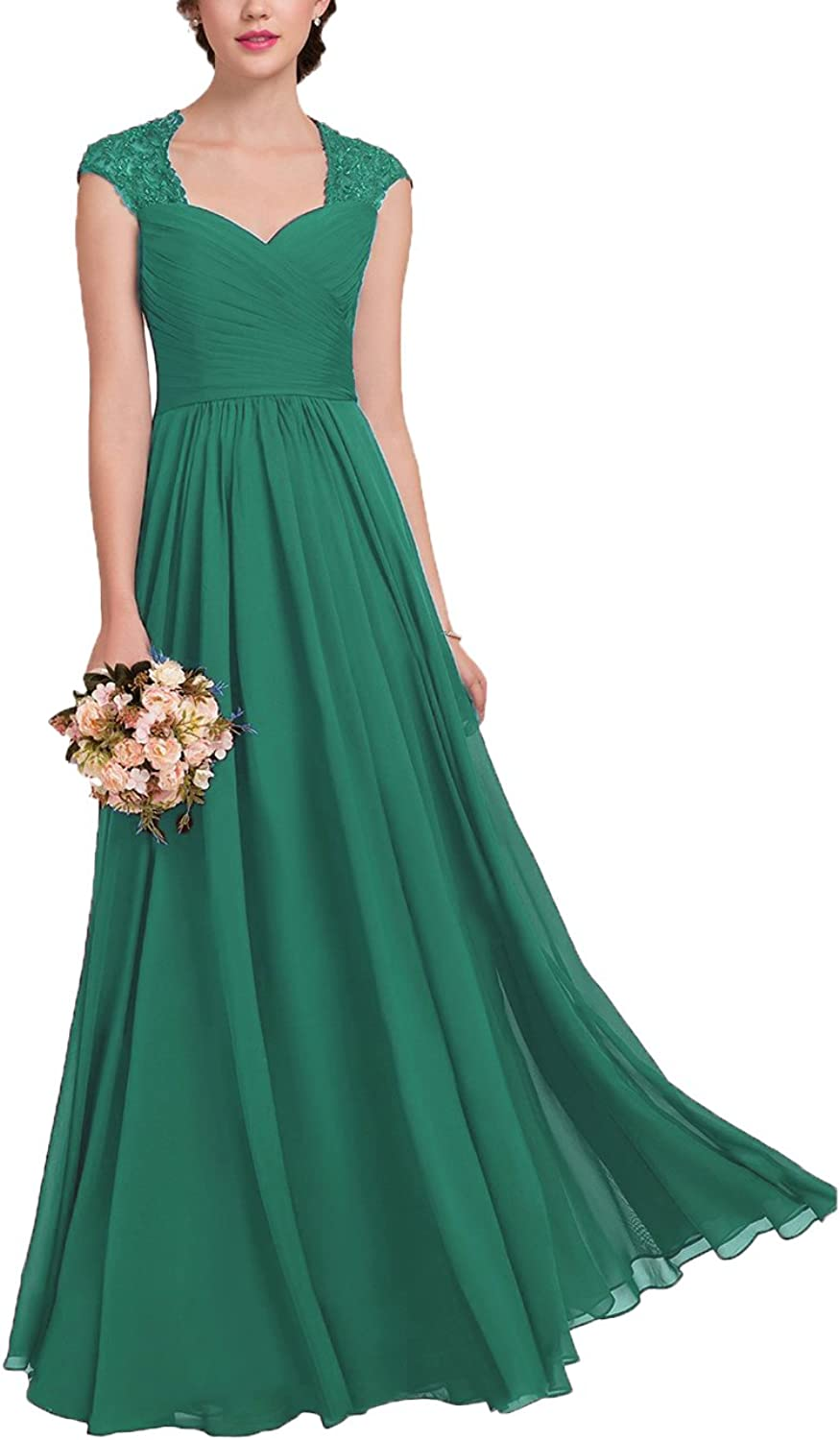 Dreagel Women's Bridesmaid Dresses Long Beaded Prom Dress Pleated Evening Gowns