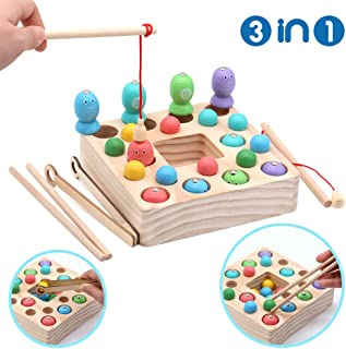d77dee1578 Symiu Giochi Montessori Magnetica Pesca Giocattoli Puzzle in Legno mit 10  Pesci, 10 Perle di
