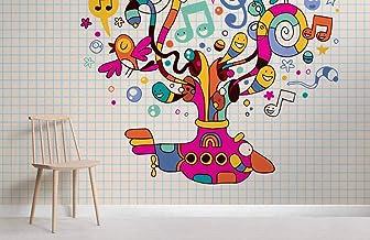 Mural de pared de patrón psicodélico rosa 350×245cm