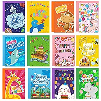 12 Sets Kids Happy Birthday Cards Cartoon Animal Birthday Cards Assorted Styles Birthday Greeting Card with Envelopes Colorful Birthday Present for Kids Friends 4 x 6 Inch 12 Designs